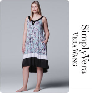 Vera Wang High-Low Keyhole Nightgown Plus Size 3X